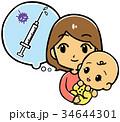 注射 赤ちゃん 予防接種のイラスト 34644301