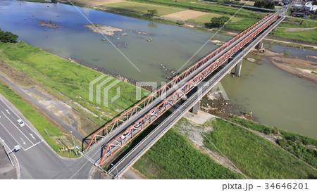 空撮]恵蘇宿橋(えそのしゅくばし)九州北部豪雨後の筑後川と恵蘇宿橋 34646201