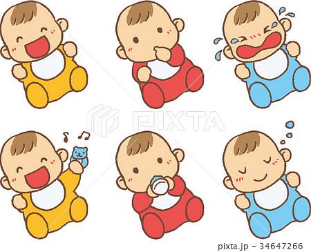 赤ちゃん 表情 かわいい シンプルのイラスト素材 34647266 Pixta