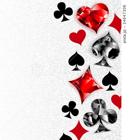 Background with polygonal playing cards symbols 34647306
