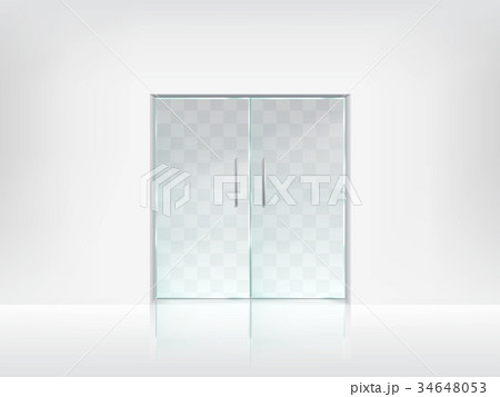 double glass door transparent vector template のイラスト素材
