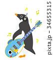 アデリーペンギン さかな ギターのイラスト 34655315