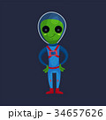 Friendly smiling green alien with big eyes wearing 34657626