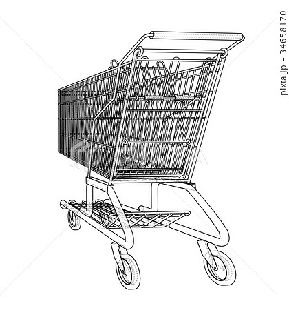 Sketch shopping trolley. Vector 34658170