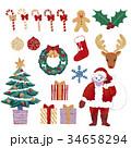 サンタクロース クリスマス メリークリスマスのイラスト 34658294