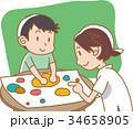 粘土遊びをする親子 34658905