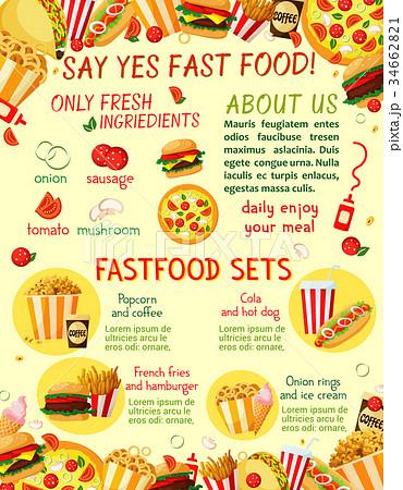 fast food restaurant snacks vector menu templateのイラスト素材