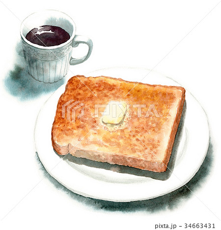 水彩で描いた山形食パントーストとコーヒー 34663431