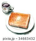 パン 朝食 イギリスパンのイラスト 34663432