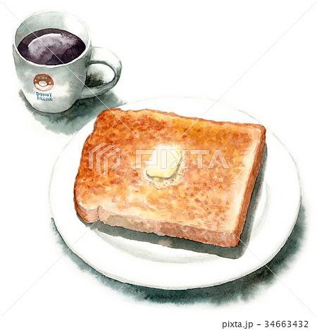 水彩で描いた山形食パントーストとコーヒー 34663432