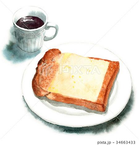 水彩で描いた山形食パンチーズトーストとコーヒー 34663433