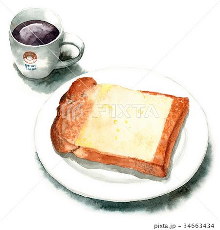 水彩で描いた山形食パンチーズトーストとコーヒー 34663434