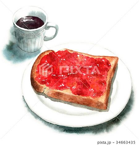 水彩で描いた山形食パンジャムトーストとコーヒー 34663435