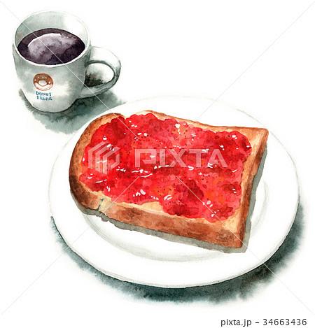 水彩で描いた山形食パンジャムトーストとコーヒー 34663436