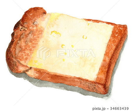 水彩で描いた山形食パンチーズトースト 34663439