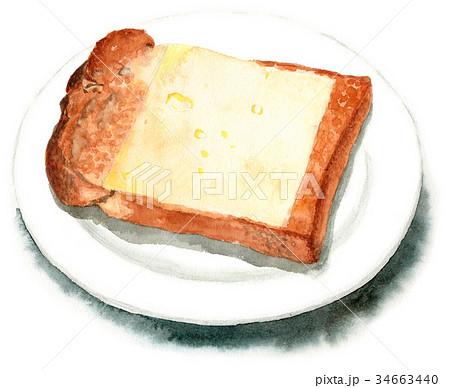水彩で描いた山形食パンチーズトースト 34663440