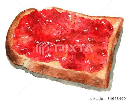 水彩で描いた山形食パンジャムトースト 34663499