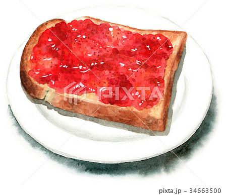 水彩で描いた山形食パンジャムトースト 34663500