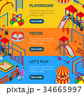 Kids Playground Banner Horizontal Set Isometric 34665997