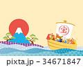 年賀状 戌年 富士山のイラスト 34671847