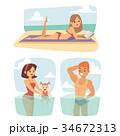 ベクトル ビーチ 浜辺のイラスト 34672313