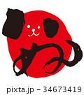 年賀状素材 犬 戌のイラスト 34673419