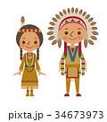 インディアン アメリカ 民族 ネイティブ 男女 アメリカン 34673973