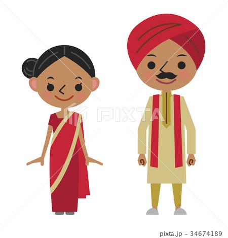 インド インド人 民族衣装 男女 カレーのイラスト素材 34674189 Pixta