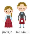 イギリス 民族衣装 男女 スコットランド キルト タータン ポーランド ヨーロッパ 34674436