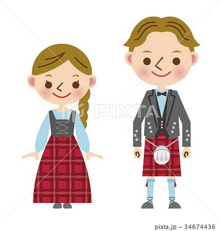 イギリス 民族衣装 男女 スコットランド キルト タータン ポーランド
