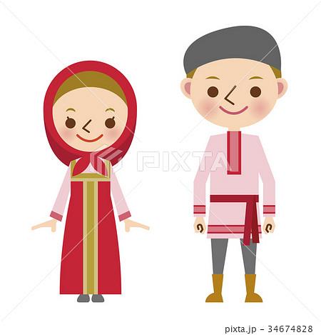 ロシア ロシア人 民族衣装 世界 男女 のイラスト素材 34674828 Pixta