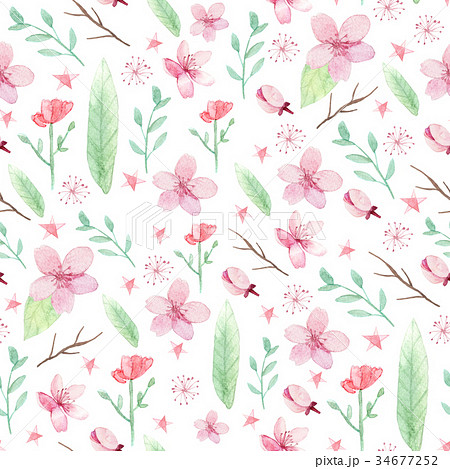 flowers and leaves patternのイラスト素材 34677252 pixta