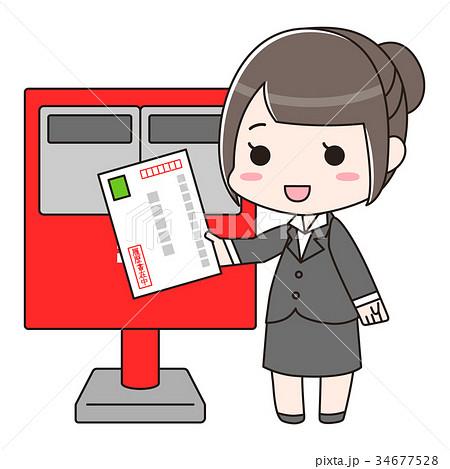 ポストに履歴書入りの封筒を出す女性 34677528
