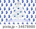 クリスマス はがきテンプレート クリスマスツリーのイラスト 34678980