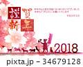 戌 桜 年賀状 背景  34679128
