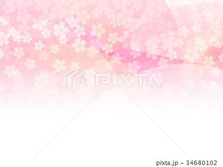 ピンク小花背景と扇子 34680102