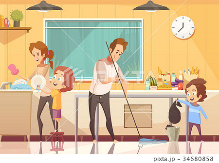 Kids Helping Cleaning Cartoon Poster  34680858