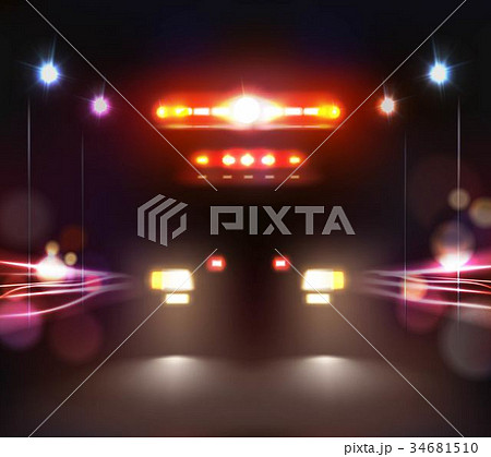 Ambulance In Night Composition 34681510