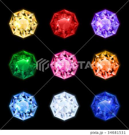 Realistic Diamond Gemstone Icon Set 34681531