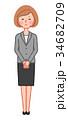 女性 人物 お詫びのイラスト 34682709