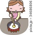 料理 主婦 女性のイラスト 34686806