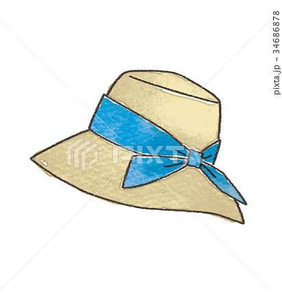 麦わら帽子のイラストのイラスト素材 34686878 Pixta