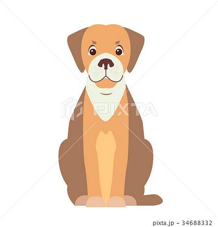 Cute Beagle Dog Cartoon Flat Vector Icon 34688332