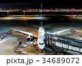 羽田空港 夜 旅客機の写真 34689072