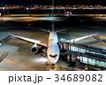 羽田空港 夜 旅客機の写真 34689082