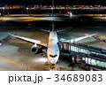 羽田空港 夜 旅客機の写真 34689083