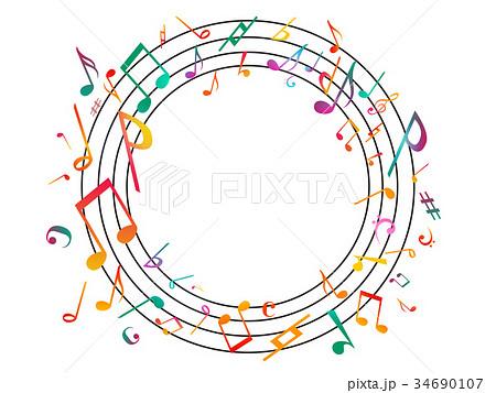 音符ミュージック背景イラスト白 34690107