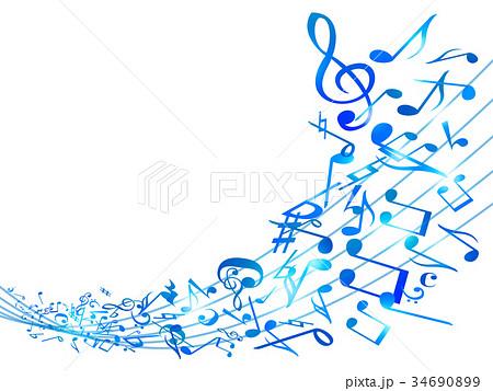 音符ミュージック背景イラスト青のイラスト素材 34690899 Pixta