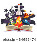 Open book with rocket, astronaut, planets, stars 34692474