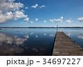 小川原湖 桟橋 風景の写真 34697227